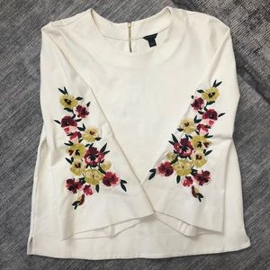 Ann Taylor Embroidered Sleeve Top !